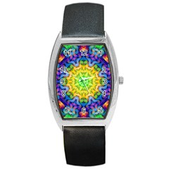 Psychedelic Abstract Tonneau Leather Watch