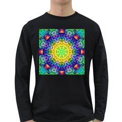 Psychedelic Abstract Men s Long Sleeve T Shirt (dark Colored)