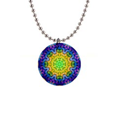 Psychedelic Abstract Button Necklace