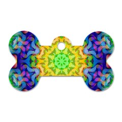 Psychedelic Abstract Dog Tag Bone (One Sided)