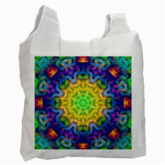Psychedelic Abstract White Reusable Bag (One Side)