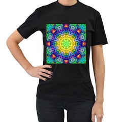 Psychedelic Abstract Women s T Shirt (black)