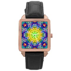 Psychedelic Abstract Rose Gold Leather Watch