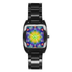 Psychedelic Abstract Stainless Steel Barrel Watch