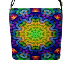 Psychedelic Abstract Flap Closure Messenger Bag (Large)