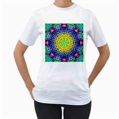 Psychedelic Abstract Women s T Shirt (white)