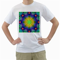 Psychedelic Abstract Men s T Shirt (white)