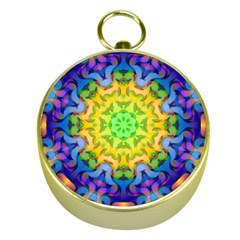 Psychedelic Abstract Gold Compass