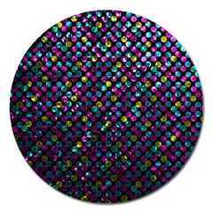 Polka Dot Sparkley Jewels 2 Magnet 5  (round)