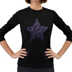 Polka Dot Sparkley Jewels 2 Women s Long Sleeve T-shirt (Dark Colored)