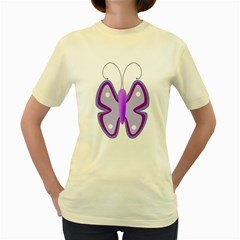 Cute Awareness Butterfly Women s T-shirt (Yellow)