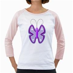 Cute Awareness Butterfly Women s Long Cap Sleeve T-Shirt (White)