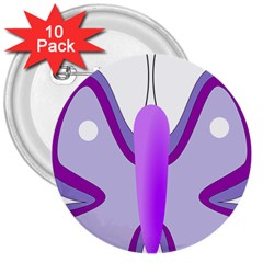 Cute Awareness Butterfly 3  Button (10 pack)