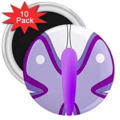 Cute Awareness Butterfly 3  Button Magnet (10 Pack)