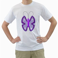 Cute Awareness Butterfly Men s Two-sided T-shirt (White)