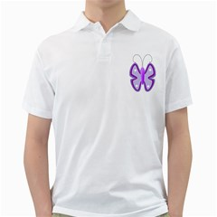 Cute Awareness Butterfly Men s Polo Shirt (White)