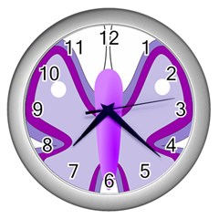 Cute Awareness Butterfly Wall Clock (silver)