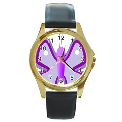 Cute Awareness Butterfly Round Leather Watch (Gold Rim)