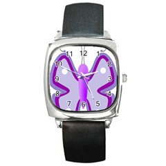 Cute Awareness Butterfly Square Leather Watch