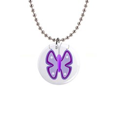 Cute Awareness Butterfly Button Necklace