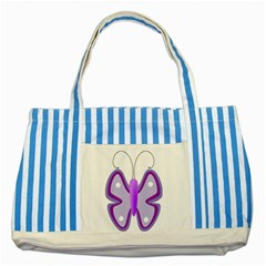 Cute Awareness Butterfly Blue Striped Tote Bag