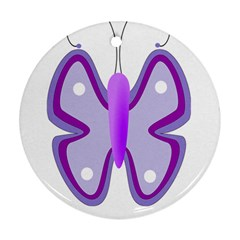 Cute Awareness Butterfly Round Ornament (Two Sides)
