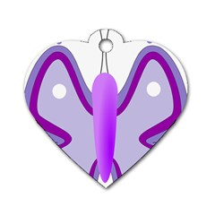 Cute Awareness Butterfly Dog Tag Heart (One Sided)