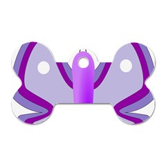 Cute Awareness Butterfly Dog Tag Bone (one Sided)