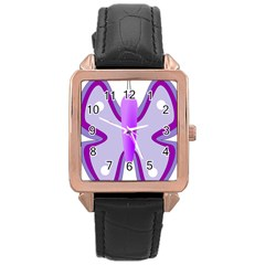 Cute Awareness Butterfly Rose Gold Leather Watch