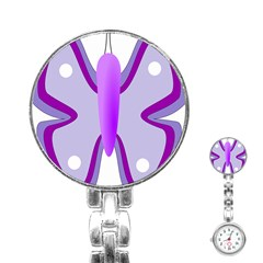 Cute Awareness Butterfly Stainless Steel Nurses Watch