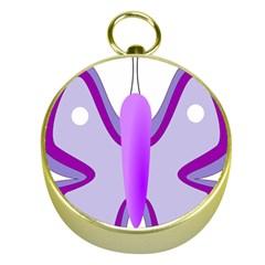 Cute Awareness Butterfly Gold Compass