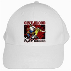 Give Blood Play Soccer White Cap