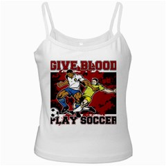 Give Blood Play Soccer White Spaghetti Tank