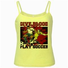 Give Blood Play Soccer Yellow Spaghetti Tank