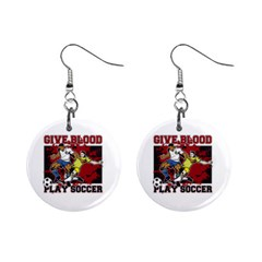 Give Blood Play Soccer 1  Button Earrings
