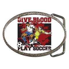 Give Blood Play Soccer Belt Buckle