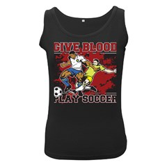 Give Blood Play Soccer Women s Black Tank Top