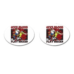 Give Blood Play Soccer Cufflinks (oval)