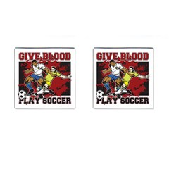 Give Blood Play Soccer Cufflinks (Square)