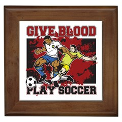 Give Blood Play Soccer Framed Tile