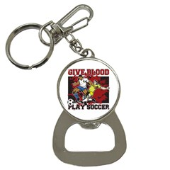 Give Blood Play Soccer Bottle Opener Key Chain