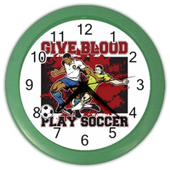 Give Blood Play Soccer Color Wall Clock