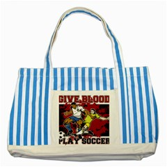 Give Blood Play Soccer Striped Blue Tote Bag