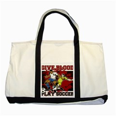 Give Blood Play Soccer Two Tone Tote Bag