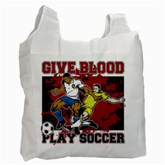 Give Blood Play Soccer Recycle Bag (one Side)