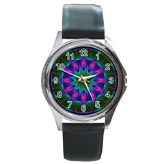 Star Of Leaves, Abstract Magenta Green Forest Round Leather Watch (Silver Rim)