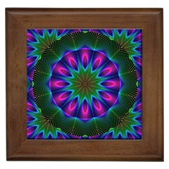 Star Of Leaves, Abstract Magenta Green Forest Framed Ceramic Tile
