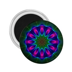 Star Of Leaves, Abstract Magenta Green Forest 2.25  Button Magnet