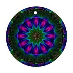 Star Of Leaves, Abstract Magenta Green Forest Round Ornament