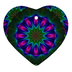 Star Of Leaves, Abstract Magenta Green Forest Heart Ornament
